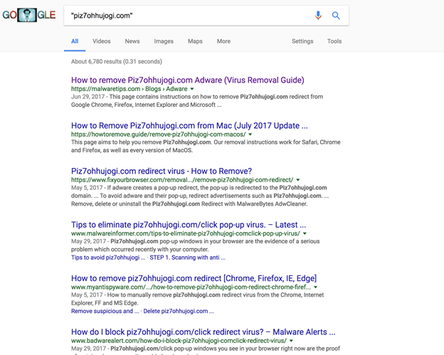 PUP domain google results