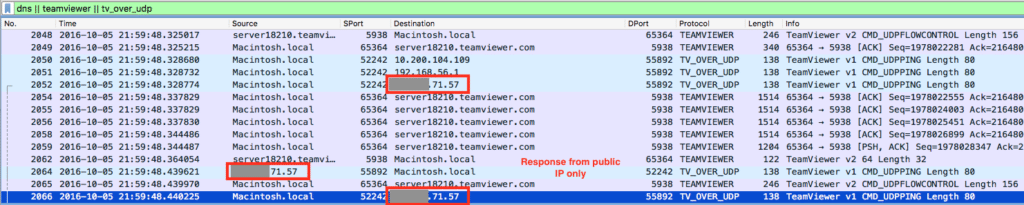 teamviewer response from public IP address