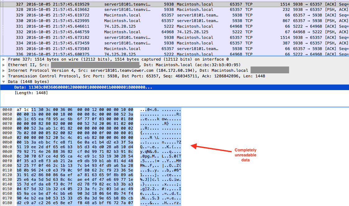 TeamViewer unreadable TCP communications