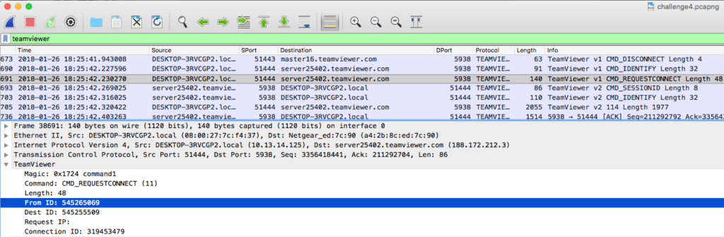 wireshark pcap analysis puzzle 4 decoding teamviewer traffic with LUA